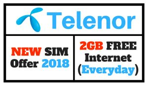 Telenor New SIM Offer 2018 Code (Enjoy 2GB Free Internet)