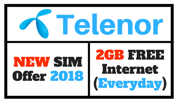 Telenor New SIM Offer 2018 Code (Enjoy 2GB Free Internet)