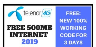 Telenor Free 500MB Internet for 3 Days 2019