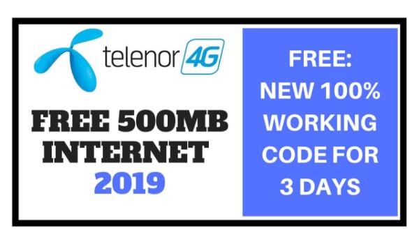 Telenor Free 500MB Internet for 3 Days 2019