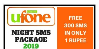 Ufone Night SMS Package 2019