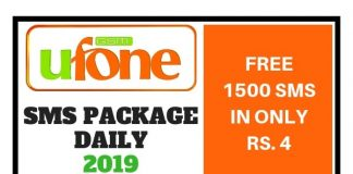 Ufone SMS Package Daily 2019