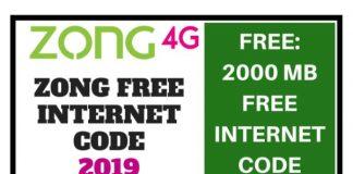 Zong 2GB Free Internet Code 2019
