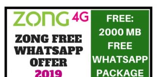 Zong Free Whatsapp Offer 2019