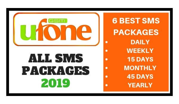 Ufone SMS Packages 2019 (Daily Weekly 15 Days Monthly 45 Days Yearly)