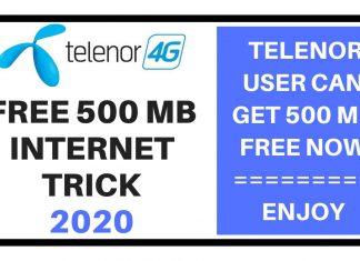Telenor Free 500MB Internet
