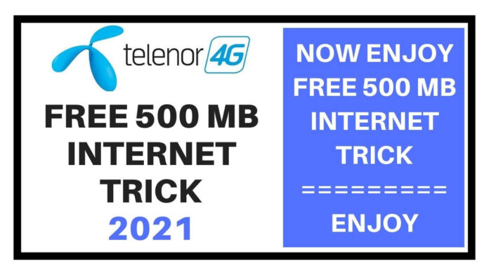 Telenor free 500 mb internet trick 2021
