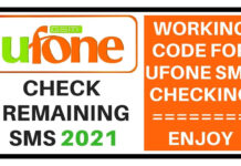 Ufone check remaining sms 2021