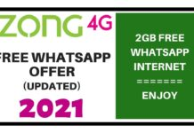 ZONG FREE WHATSAPP OFFER 2021