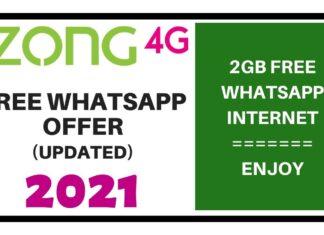 ZONG FREE WHATSAPP OFFER 2021