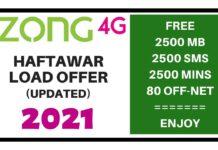 ZONG HAFTAWAR LOAD OFFER 2021