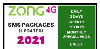 ZONG SMS PACKAGES 2021
