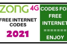 Zong Free Internet Code 2021